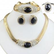 Set elegant (colier, cercei, bratara si inel), cu piatra fatetata si cristale