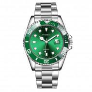 Ceas barbatesc Yolako, afisaj data, stil casual, green + cutie eleganta cadou