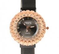 Ceas dama bratara magnetica, Crystal Time, negru + cutie eleganta cadou