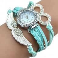 Ceas dama cu cristale si ornamente metalice (aripi de inger) - blue