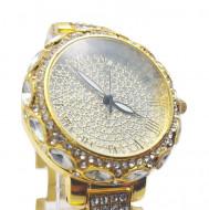 Ceas dama elegant Full crystals - golden, cutie eleganta cadou