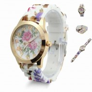 Ceas de dama Golden Full Flowers - Model 2