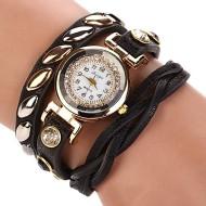 Ceas elegant, curea lunga cu cristale si elemente metalice - negru
