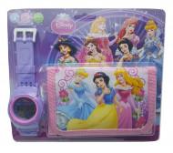 Ceas pentru fetite cu portofel, cu personaje din povesti