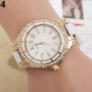 Elegant ceas de dama, cu cristale, combinatie stilata de culori