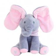 Jucarie interactiva Elefant Cucu Bau, Peek a Boo - canta si vorbeste, Gri/Roz