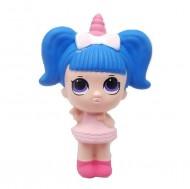 Jucarie Squishy, fetita unicorn, blue