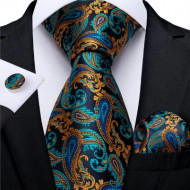 Set cravata + batista + butoni - matase naturala 100%, tesatura Jaquard - model 15