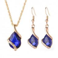 Set elegant (colier si cercei), cu piatra fatetata si cristale, model 5