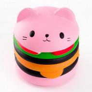 Squishy pisicuta hamburger, parumata, roz