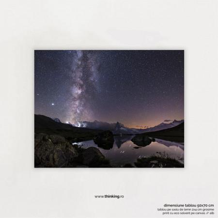 water near mountain under starry night landscape