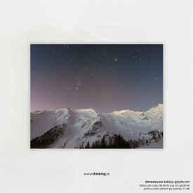 mountain covered snow under star landscape