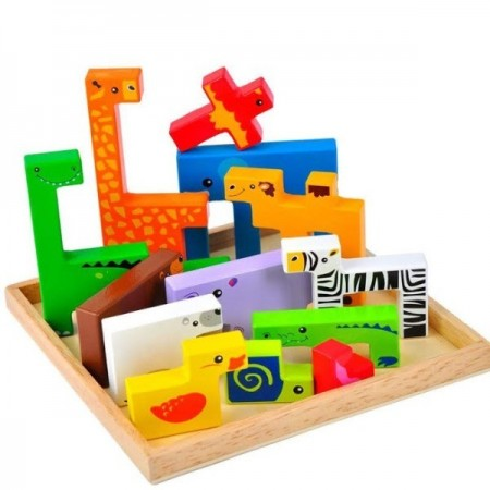 Joc creativ educativ, Puzzle lemn Tetris cu animale