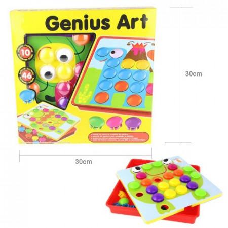 Joc creativ mozaic Button Idea, 12 planse si 46 de piese.