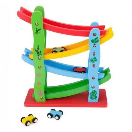Jucarie din lemn Pista de Raliu, Circuit cu 4 masinute. Jucarii si Jocuri Montessori din lemn.