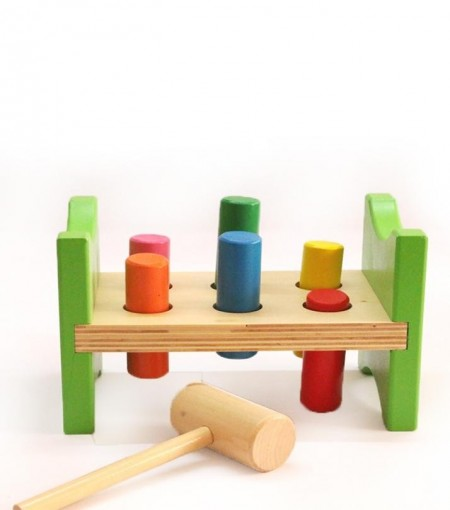 Jucarie lemn cu cilindri si ciocan, Pound a Peg. Jucarie Montessori.
