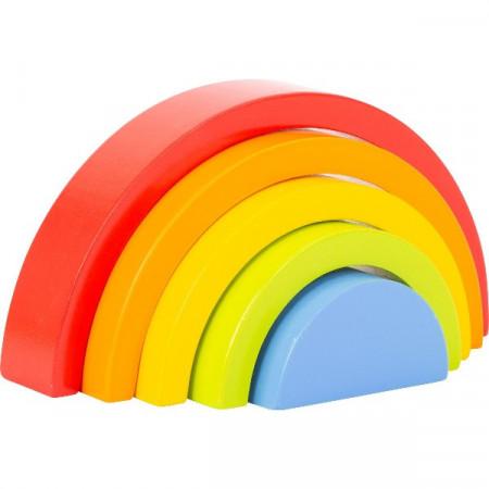 Jucarie Montessori 5 piese Rainbow Building Blocks, Small Foot. Curcubeu Montessori.