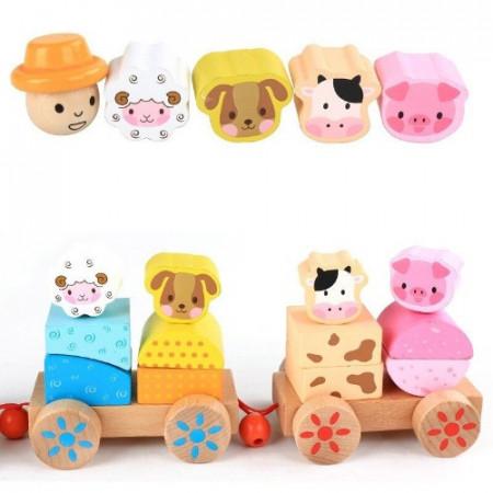 Jucarie Tren din lemn cu forme pentru stivuit, Fermierul si Animalele de la Ferma.
