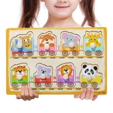 Joc educativ, Mini Puzzle lemn incastru cu buton, diverse modele, 2 – 3 ani.