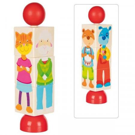 Puzzle rotativ cu animale, Puzzle din lemn Goki.