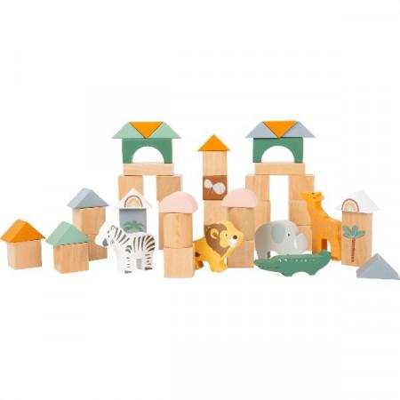 Set piese din lemn, Set cuburi constructie Safari, Jucarii lemn Small Foot.