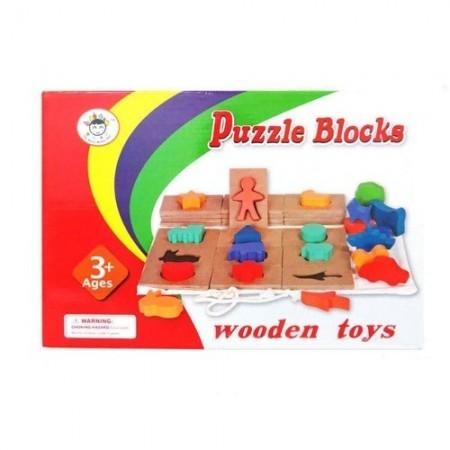 Puzzle tip inJoc educativ din lemn Ghiceste a cui este umbra. Joc Montessori.castru - Joc educativ din lemn Ghiceste a cui este umbra.