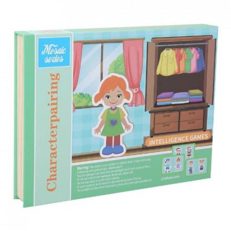 Joc educativ puzzle magnetic, Dulapiorul cu hainute. Carte magnetica.
