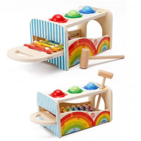 jucarie lemn montessori cutia permanentei xilofon