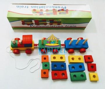 Jucarie din lemn Tren cu forme geometrice de stivuit. Jucarii si Jocuri Montessori din lemn.