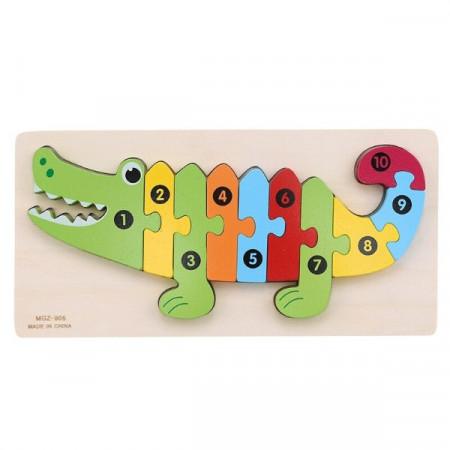 Jucarie educativa Puzzle lemn incastru Crocodil cu cifre