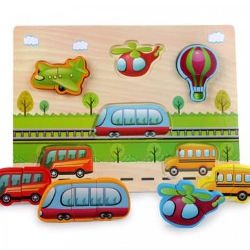 Puzzle incastru jigsaw 2 piese Vehicule.