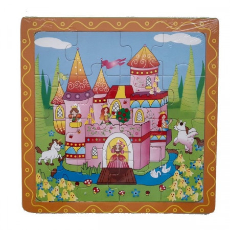 Puzzle lemn 16 piese. Puzzle educativ Castelul Fermecat.