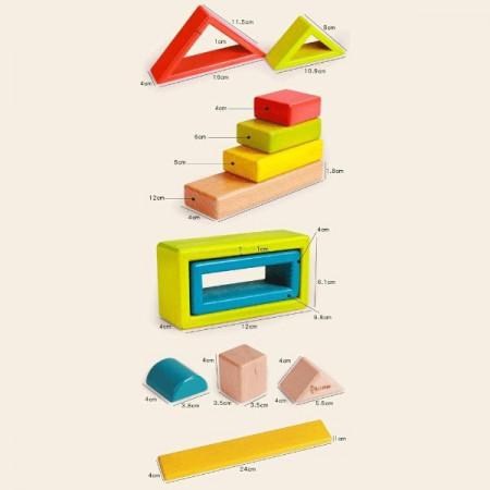 Set cuburi din lemn Montessori Curcubeu, Rainbow Blocks, 2-5 ani.