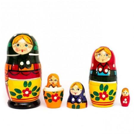 Set papusi din lemn Matrioska, 5 în 1 – Matryoshka Rusia. Jucarie lemn papusa Matrioska.