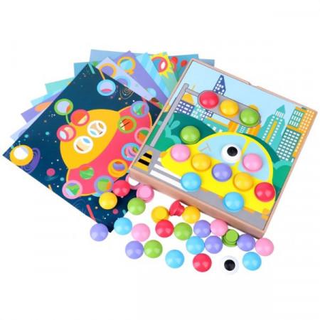 Joc Mozaic Genius cu butoni din lemn, Joc Montessori.