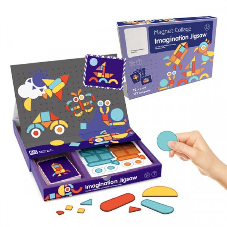 Joc puzzle magnetic forme geometrice Tangram, Carte magnetica Imagination JigSaw.