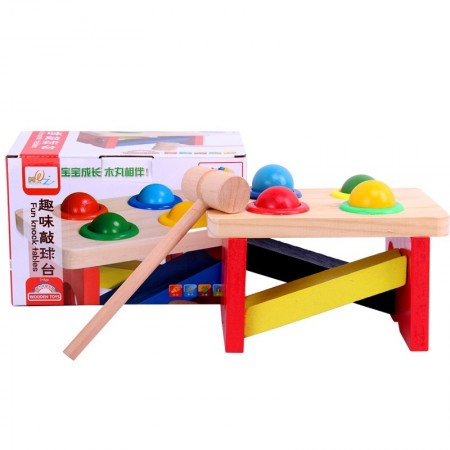 Jucarie din lemn cu bile si ciocan. Jucarie Montessori.