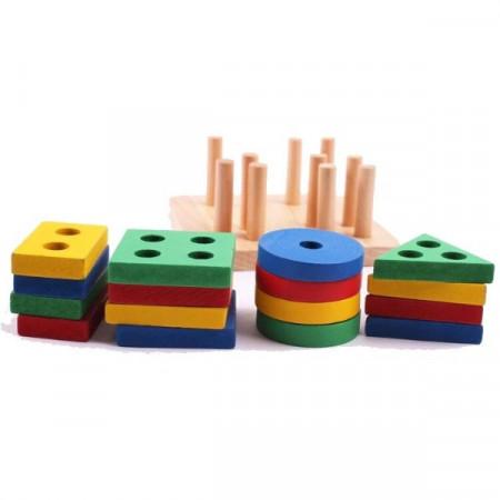 Jucarie din lemn, Sortator 4 coloane forme geometrice.