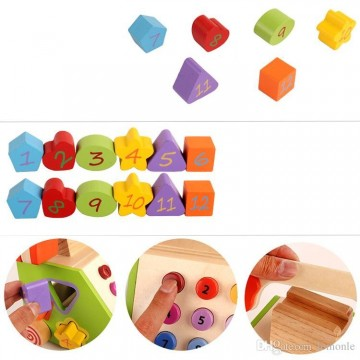 Jucarie din lemn Telefon Sortator forme geometrice. Jucarie motricitate.