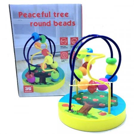 Jucarie din lemn Traseu indemanare din lemn cu labirint bile. Jucarie motricitate bebe.