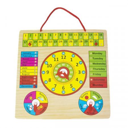 Jucarie educativa, Calendar si ceas din lemn in limba engleza.