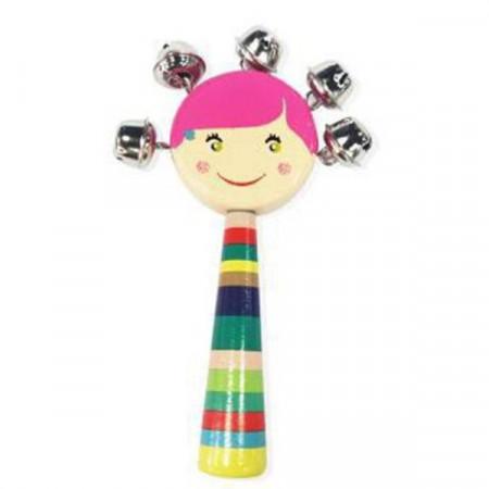 Jucarie lemn, Instrument muzical din lemn cu clopotei Pink Girl.