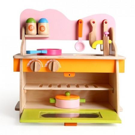 Mini Bucatarie Chicineta din lemn, Set joaca cu accesorii. Kichenette Role Play.
