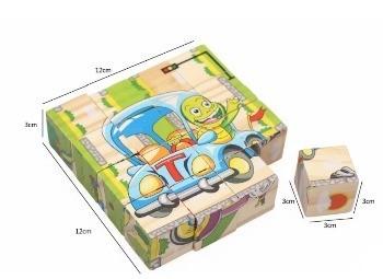 Puzzle educativ 16 cuburi din lemn, Vehicule si Animale.