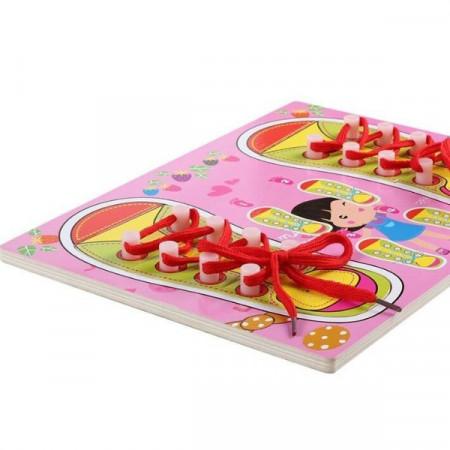 Puzzle incastru lemn Leaga siretul. Puzzle educativ Montessori.