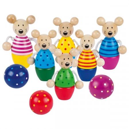 Joc Bowling cu Soricei, Joc distractiv din lemn, Goki.