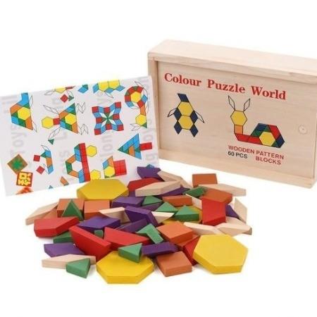 Joc educativ Tangram cutie lemn 60 piese.
