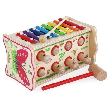 Jucarie din lemn 2 in 1 pentru 1 – 3 ani, Joc ciocanel Hamster si Xilofon