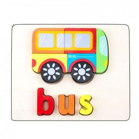 Puzzle incastru 3D Forme si Litere. Puzzle educational Montessori.