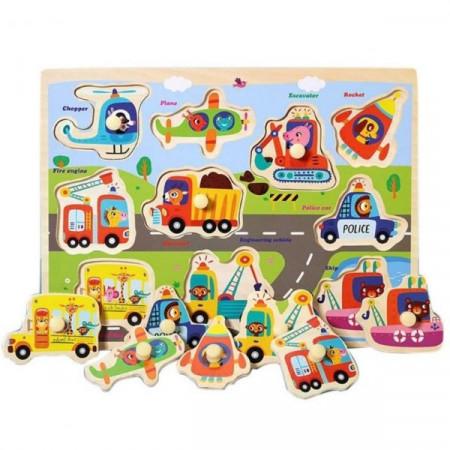 Puzzle incastru din lemn cu buton Vehicule. Puzzle Montessori.